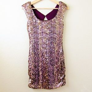 AQUA • Sequin Purple & Gold Cocktail Dress